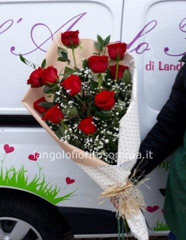 Mazzo Di Fiori Lungo.Fascio Di 11 Rose Rosse A Gambo Lungo Fiori Invio E Consegna